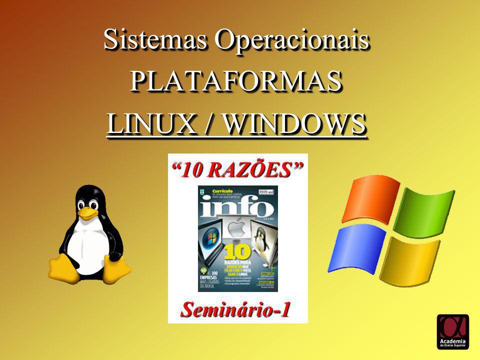 Sistemas Operacionais PLATAFORMAS LINUX / WINDOWS Sistemas Operacionais PLATAFORMAS LINUX / WINDOWS 10 RAZÕES Seminário-1