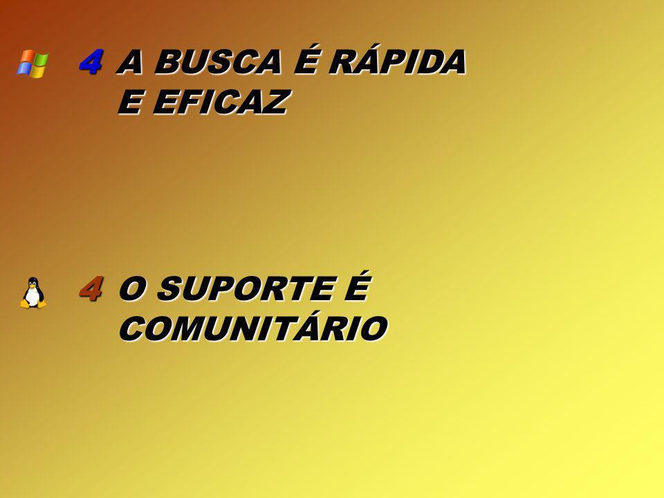 4 4 A BUSCA É RÁPIDA E EFICAZ O SUPORTE É COMUNITÁRIO
