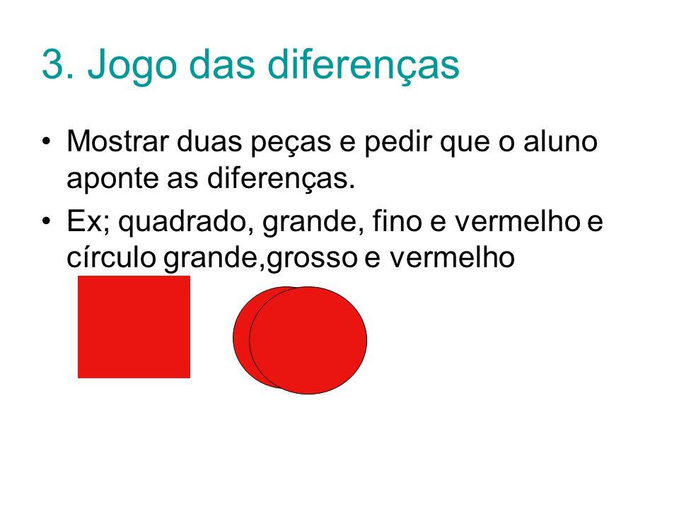 3.Jogo das diferenças Mostrar duas peças e pedir que o aluno aponte as diferenças.