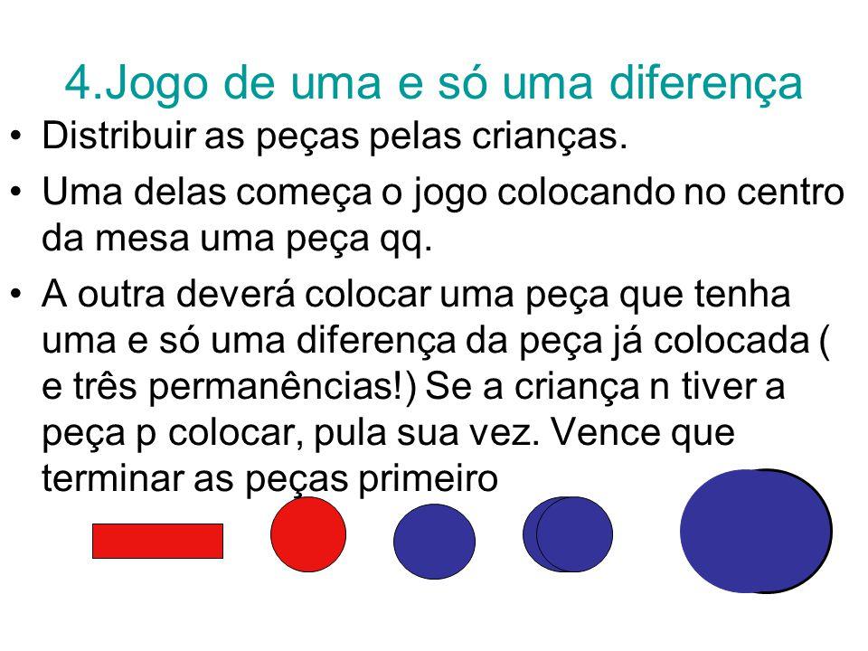 4.Jogo de uma e só uma diferença Distribuir as peças pelas crianças.