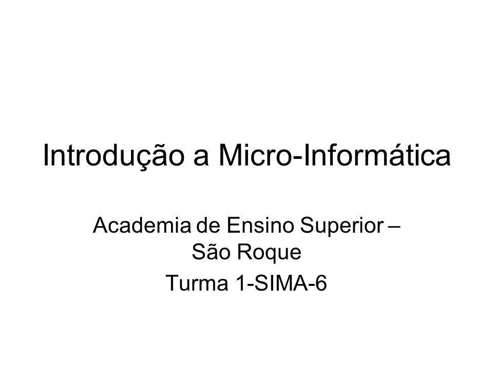Introdução a Micro-Informática Academia de Ensino Superior – São Roque Turma 1-SIMA-6