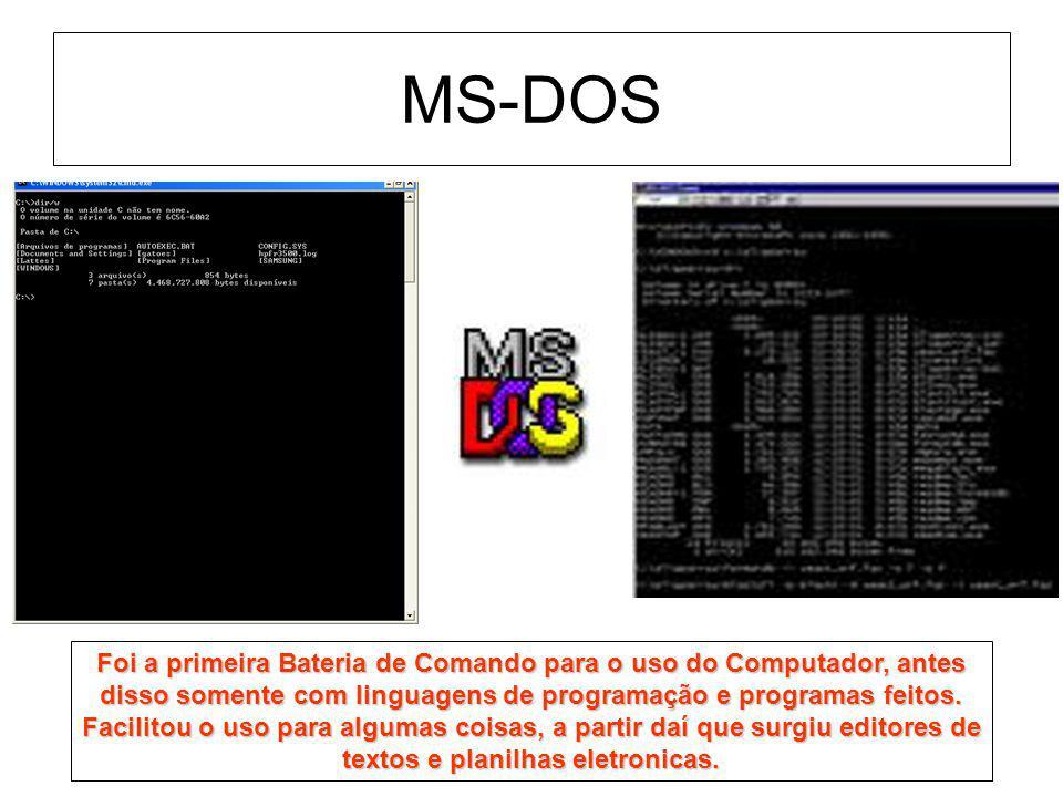 MS-DOS Foi a primeira Bateria de Comando para o uso do Computador, antes disso somente com linguagens de programação e programas feitos. Facilitou o u