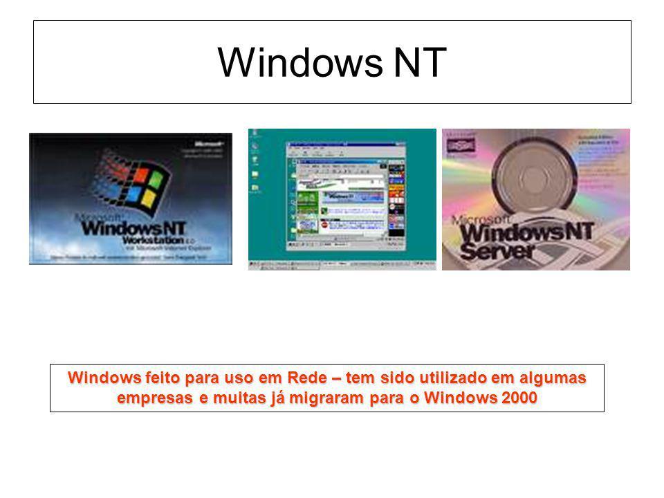 Windows NT Windows feito para uso em Rede – tem sido utilizado em algumas empresas e muitas já migraram para o Windows 2000