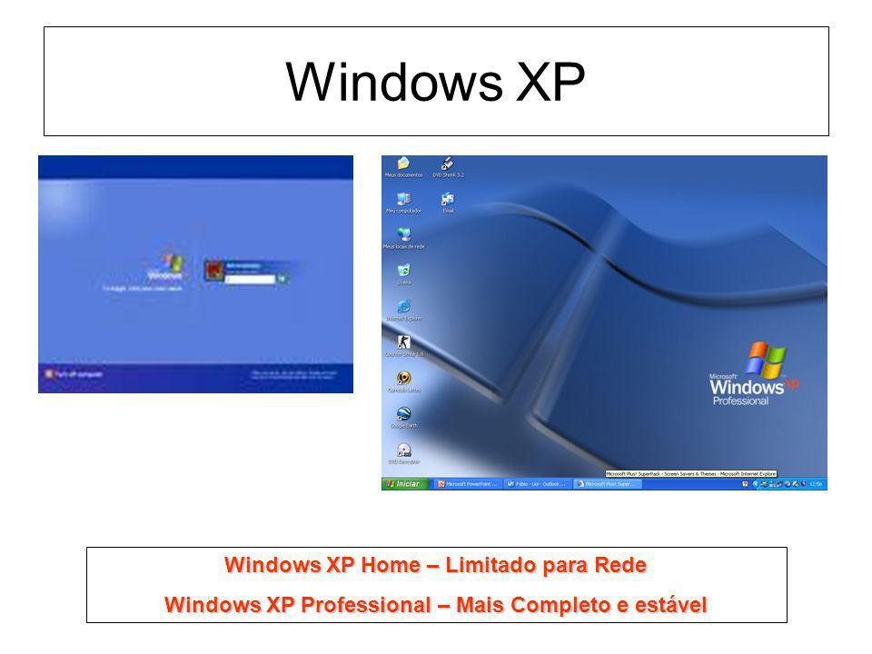 Windows XP Windows XP Home – Limitado para Rede Windows XP Professional – Mais Completo e estável