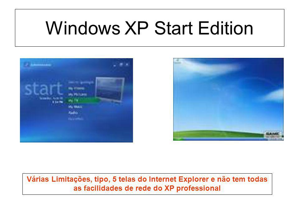Windows XP Start Edition Várias Limitações, tipo, 5 telas do Internet Explorer e não tem todas as facilidades de rede do XP professional