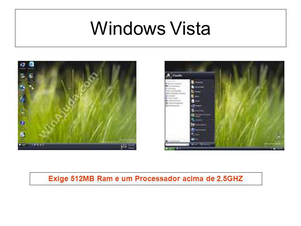 Windows Vista Exige 512MB Ram e um Processador acima de 2.5GHZ