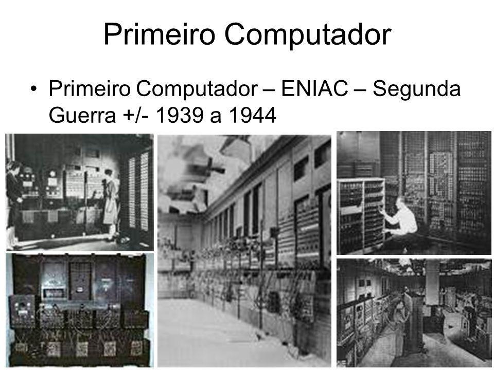 Primeiro Computador - ENIAC 17468 válvulas suficiente para processar apenas 5,000 adições, 357 multiplicações e 38 divisões por segundo o ENIAC acabou sendo terminado exatos 3 meses depois do final da Guerra e acabou sendo usado durante a guerra fria, contribuindo por exemplo no projeto da bomba de Hidrogênio
