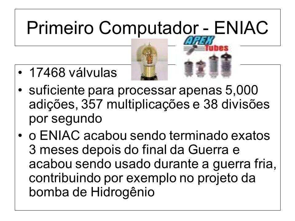 Primeiro Computador - ENIAC 17468 válvulas suficiente para processar apenas 5,000 adições, 357 multiplicações e 38 divisões por segundo o ENIAC acabou