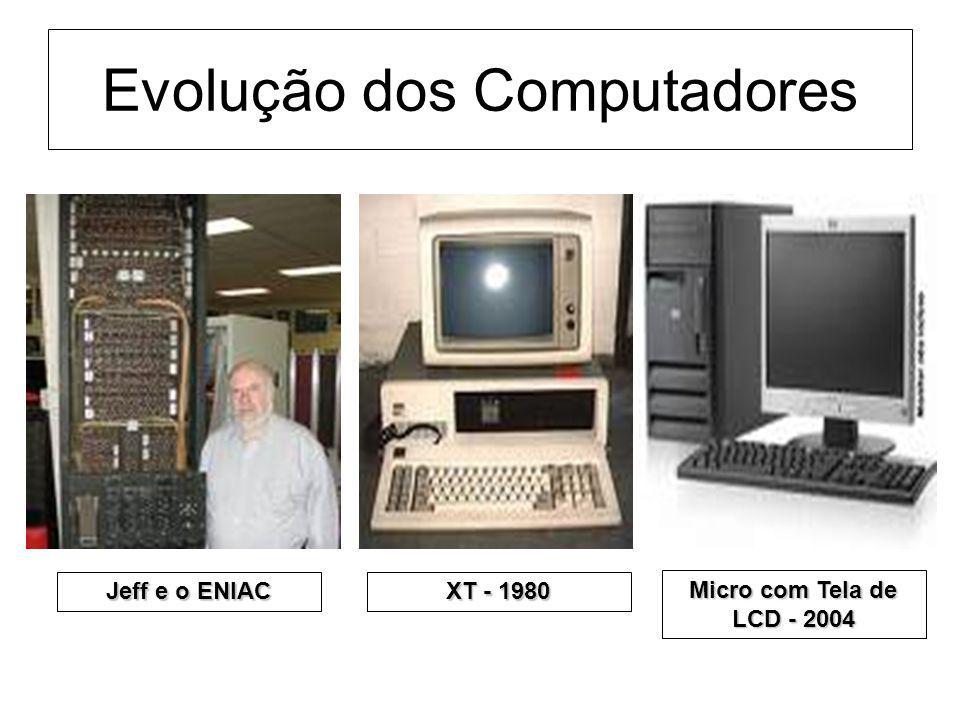 Evolução dos Computadores Jeff e o ENIAC XT - 1980 Micro com Tela de LCD - 2004