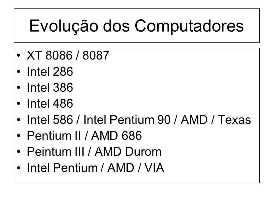 Evolução dos Computadores XT 8086 / 8087 Intel 286 Intel 386 Intel 486 Intel 586 / Intel Pentium 90 / AMD / Texas Pentium II / AMD 686 Peintum III / A