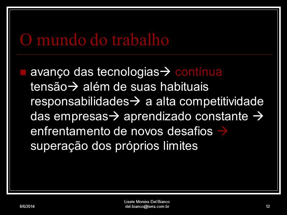 8/6/2014 Lisete Moreira Del Bianco del.bianco@terra.com.br11 Causas do estresse Trânsito: os congestionamentos, os semáforos, os assaltos aos motorist