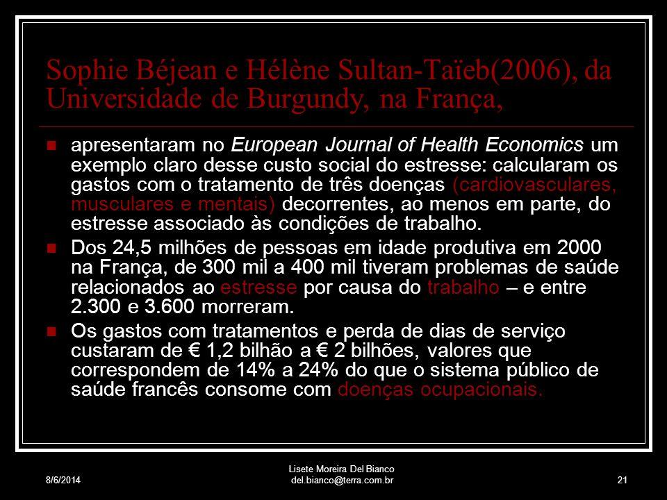 8/6/2014 Lisete Moreira Del Bianco del.bianco@terra.com.br20 O preço dessa adaptação não é só o corpo que paga, uma vez que doenças provocadas pelo estresse consomem uma parte das verbas do sistema público de saúde.