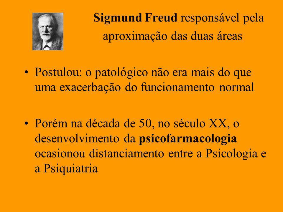 Sigmund Freud responsável pela aproximação das duas áreas Postulou: o patológico não era mais do que uma exacerbação do funcionamento normal Porém na década de 50, no século XX, o desenvolvimento da psicofarmacologia ocasionou distanciamento entre a Psicologia e a Psiquiatria
