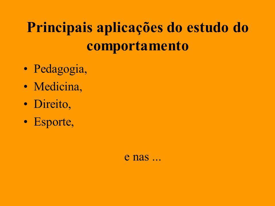 Principais aplicações do estudo do comportamento Pedagogia, Medicina, Direito, Esporte, e nas...