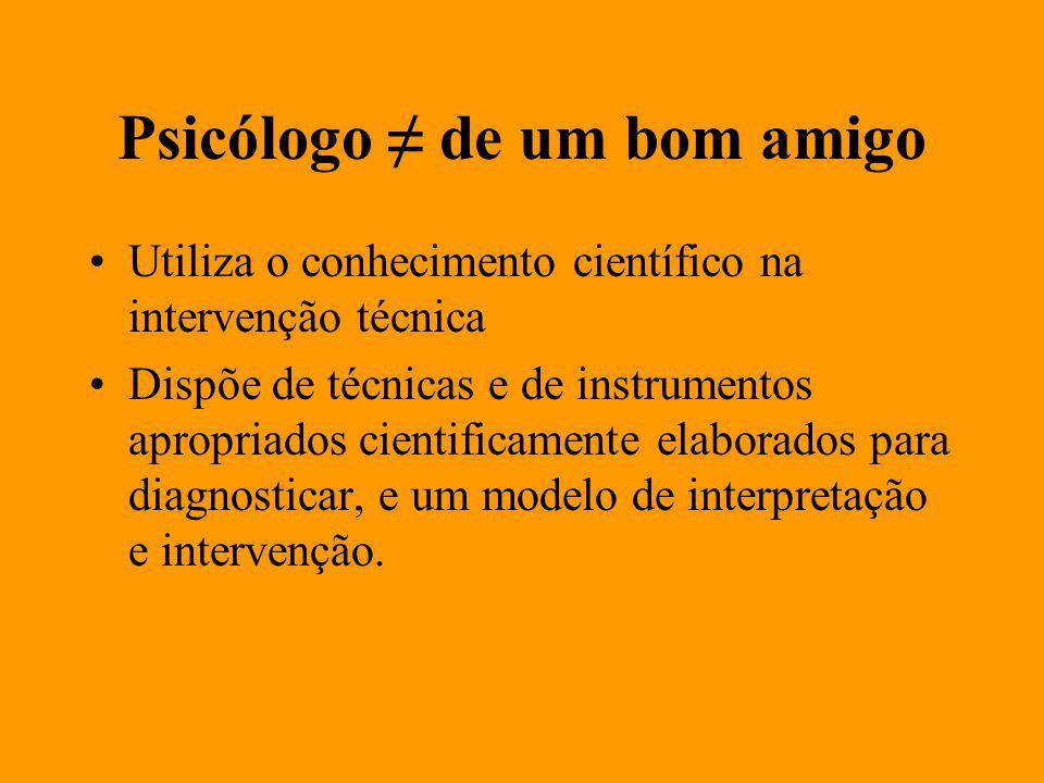 Psicólogo de um bom amigo Utiliza o conhecimento científico na intervenção técnica Dispõe de técnicas e de instrumentos apropriados cientificamente elaborados para diagnosticar, e um modelo de interpretação e intervenção.