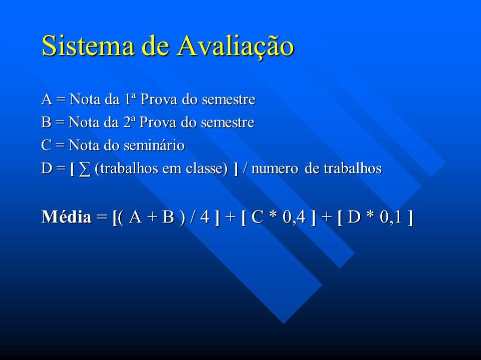 Sistema de Avaliação A = Nota da 1ª Prova do semestre B = Nota da 2ª Prova do semestre C = Nota do seminário D = [ (trabalhos em classe) ] / numero de trabalhos Média = [( A + B ) / 4 ] + [ C * 0,4 ] + [ D * 0,1 ]
