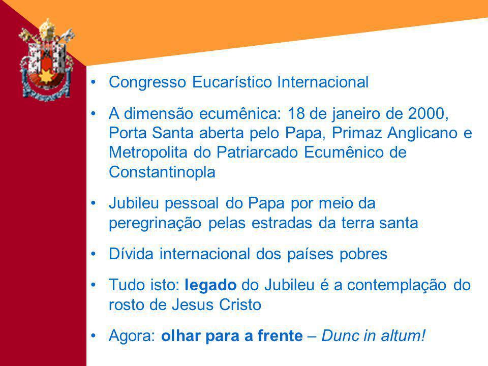 Congresso Eucarístico Internacional A dimensão ecumênica: 18 de janeiro de 2000, Porta Santa aberta pelo Papa, Primaz Anglicano e Metropolita do Patri