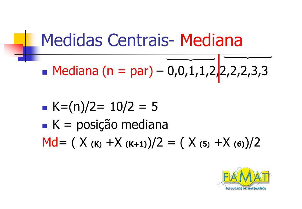 Medidas Centrais- Mediana Mediana (n = par) – 0,0,1,1,2,2,2,2,3,3 K=(n)/2= 10/2 = 5 K = posição mediana Md= ( X (K ) +X (K+1) )/2 = ( X (5 ) +X (6) )/