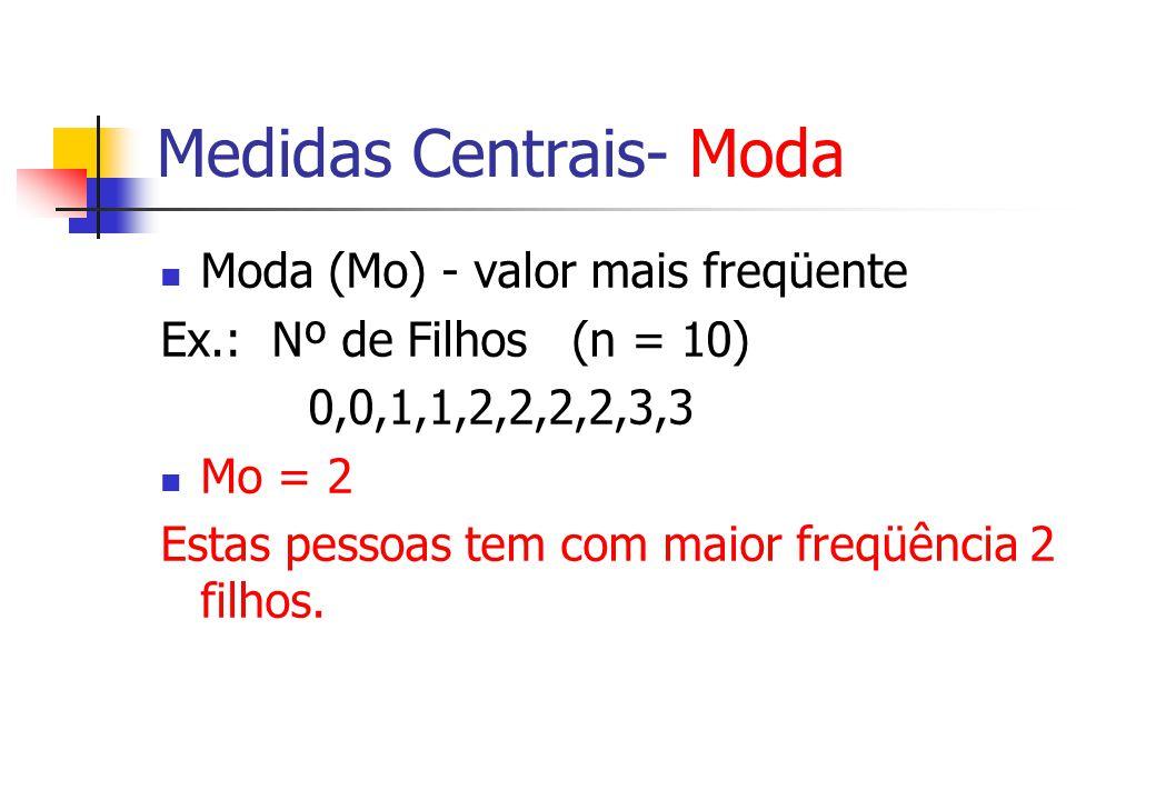 Medidas Centrais- Moda Moda (Mo) - valor mais freqüente Ex.: Nº de Filhos (n = 10) 0,0,1,1,2,2,2,2,3,3 Mo = 2 Estas pessoas tem com maior freqüência 2