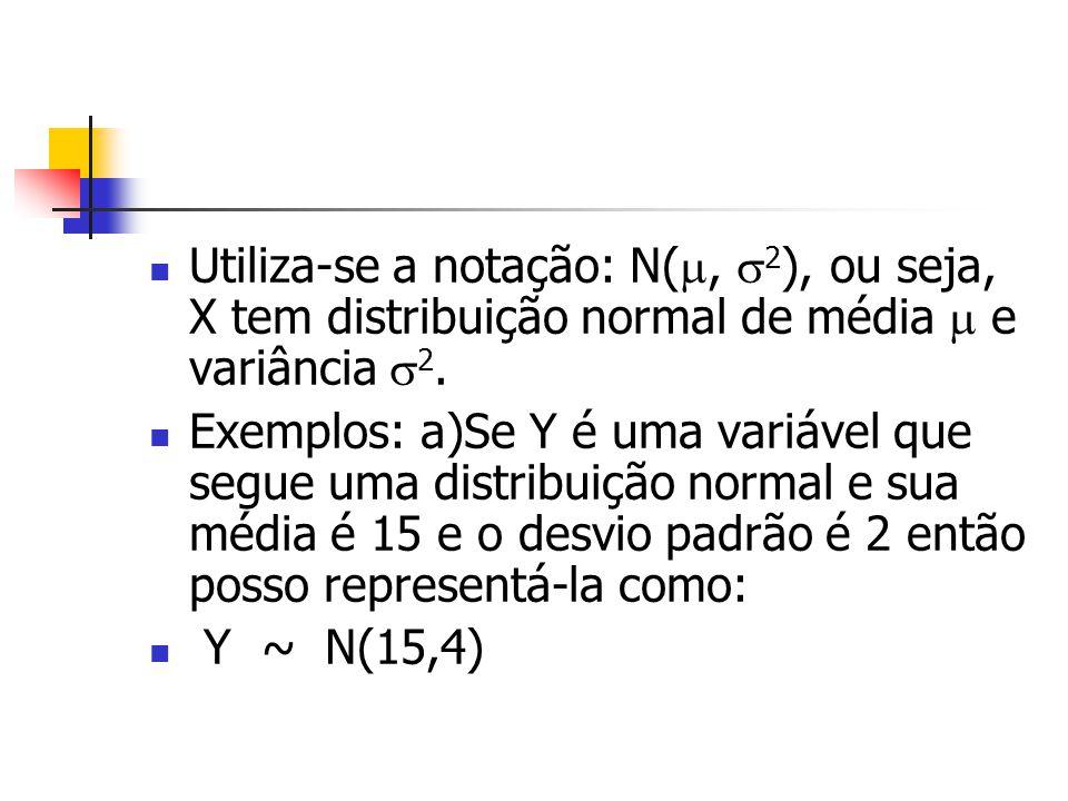 Utiliza-se a notação: N(, 2 ), ou seja, X tem distribuição normal de média e variância 2. Exemplos: a)Se Y é uma variável que segue uma distribuição n