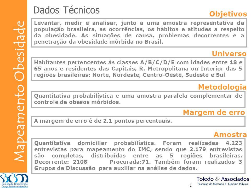 Bunge Mapeamento Obesidade 1 Dados Técnicos Levantar, medir e analisar, junto a uma amostra representativa da população brasileira, as ocorrências, os