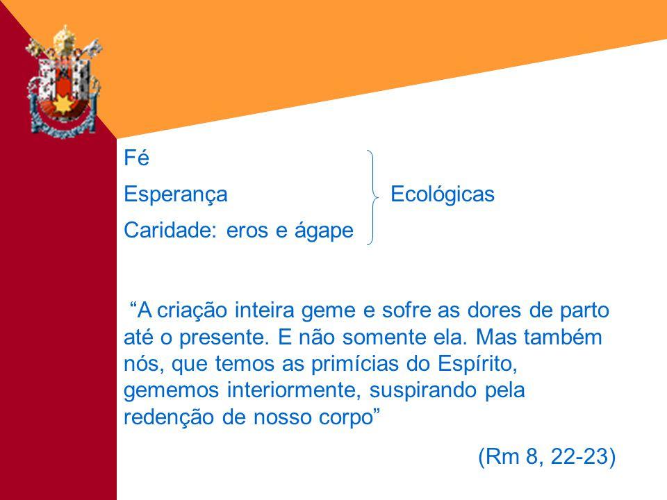 Fé&Cultura - 18/03/200312 Fé EsperançaEcológicas Caridade: eros e ágape A criação inteira geme e sofre as dores de parto até o presente. E não somente