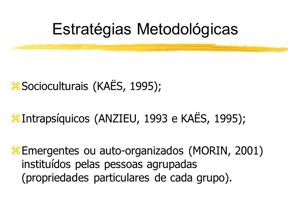 zSocioculturais (KAËS, 1995); zIntrapsíquicos (ANZIEU, 1993 e KAËS, 1995); zEmergentes ou auto-organizados (MORIN, 2001) instituídos pelas pessoas agrupadas (propriedades particulares de cada grupo).