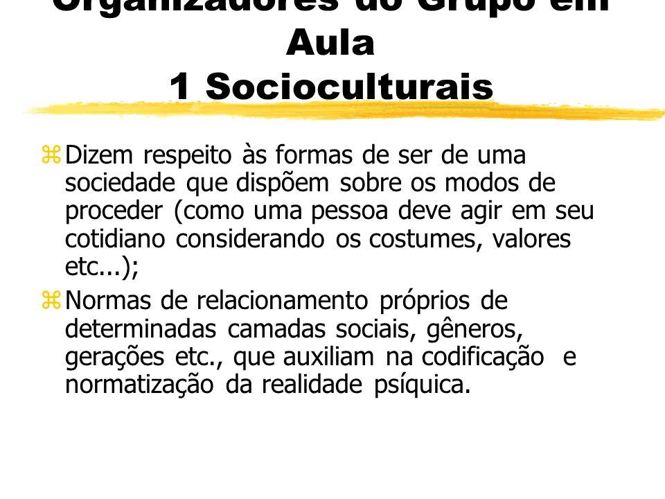 Organizadores do Grupo em Aula 1 Socioculturais zDizem respeito às formas de ser de uma sociedade que dispõem sobre os modos de proceder (como uma pes
