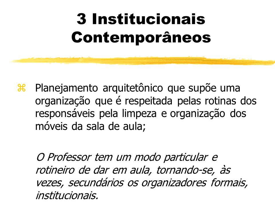 3 Institucionais Contemporâneos zPlanejamento arquitetônico que supõe uma organização que é respeitada pelas rotinas dos responsáveis pela limpeza e o