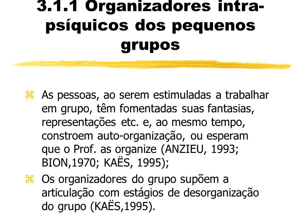 3.1.1 Organizadores intra- psíquicos dos pequenos grupos zAs pessoas, ao serem estimuladas a trabalhar em grupo, têm fomentadas suas fantasias, repres