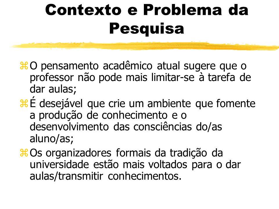 Contexto e Problema da Pesquisa zO pensamento acadêmico atual sugere que o professor não pode mais limitar-se à tarefa de dar aulas; zÉ desejável que