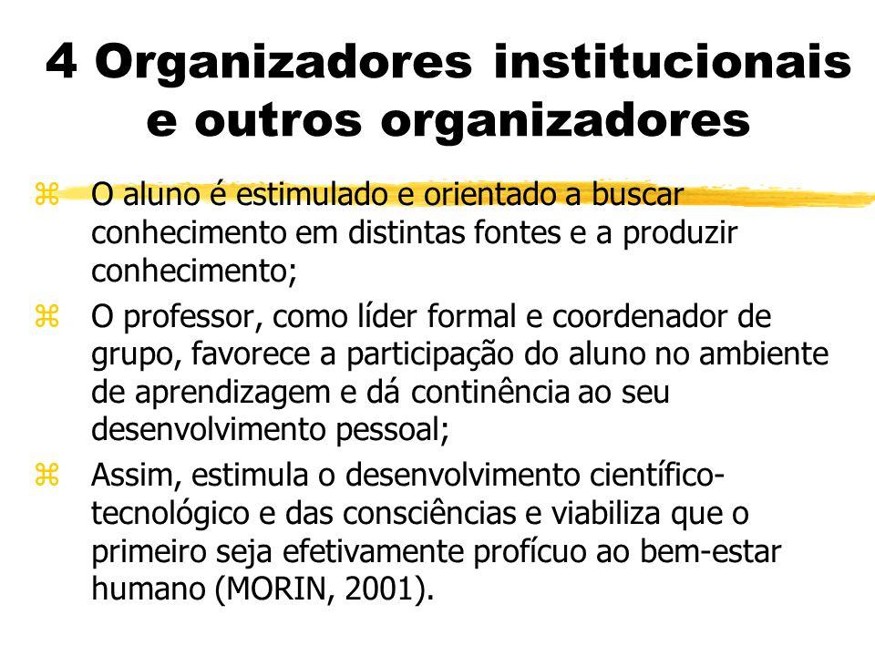 4 Organizadores institucionais e outros organizadores zO aluno é estimulado e orientado a buscar conhecimento em distintas fontes e a produzir conhecimento; zO professor, como líder formal e coordenador de grupo, favorece a participação do aluno no ambiente de aprendizagem e dá continência ao seu desenvolvimento pessoal; zAssim, estimula o desenvolvimento científico- tecnológico e das consciências e viabiliza que o primeiro seja efetivamente profícuo ao bem-estar humano (MORIN, 2001).
