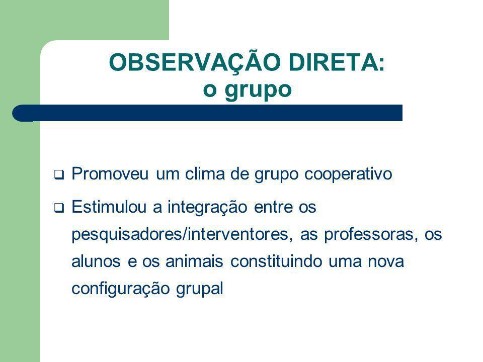 OBSERVAÇÃO DIRETA: o grupo Promoveu um clima de grupo cooperativo Estimulou a integração entre os pesquisadores/interventores, as professoras, os alun