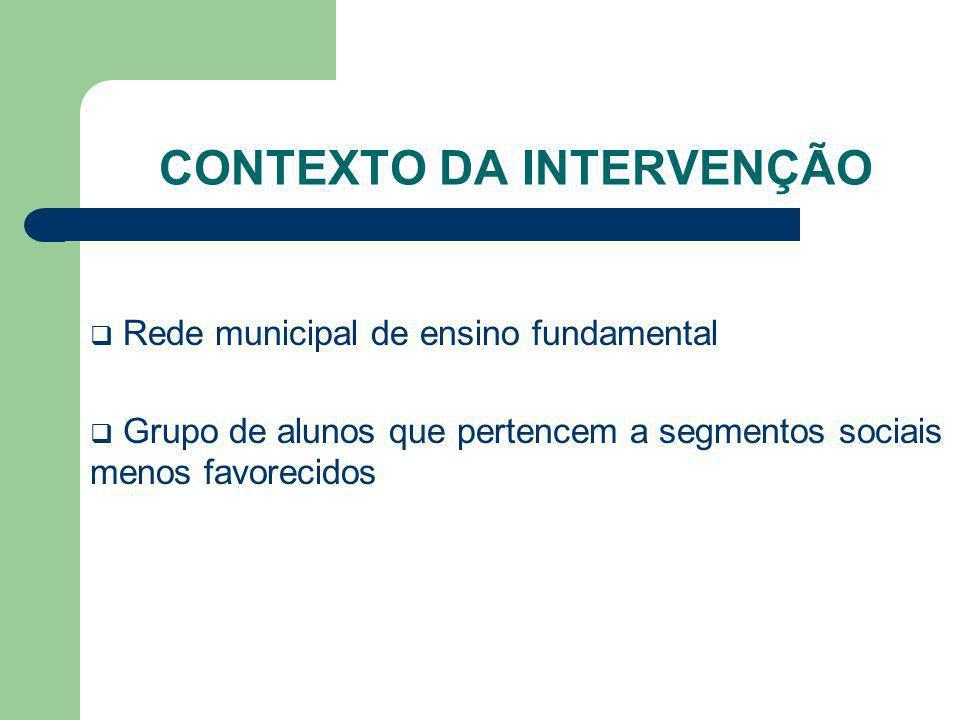 CONTEXTO DA INTERVENÇÃO Rede municipal de ensino fundamental Grupo de alunos que pertencem a segmentos sociais menos favorecidos