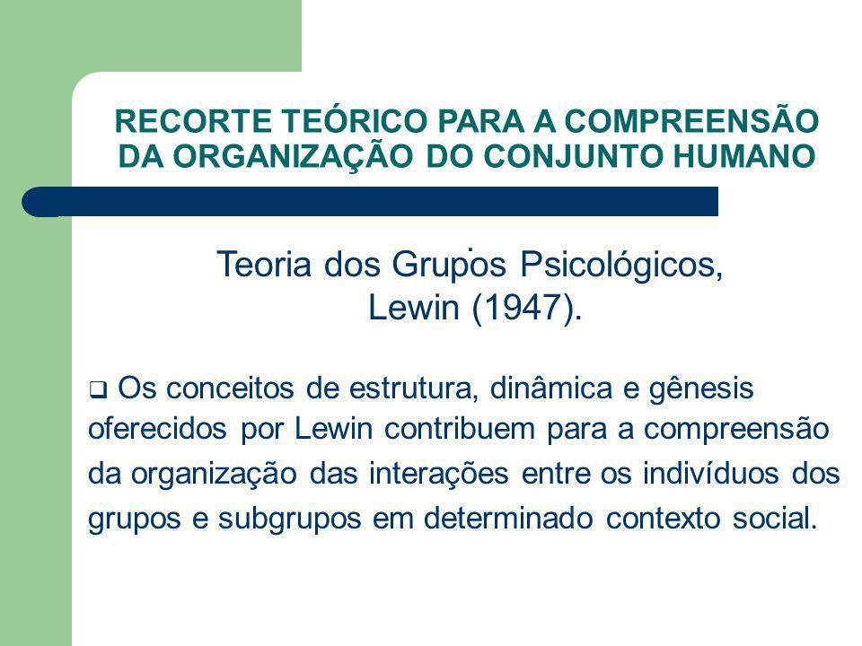 . Teoria dos Grupos Psicológicos, Lewin (1947). Os conceitos de estrutura, dinâmica e gênesis oferecidos por Lewin contribuem para a compreensão da or