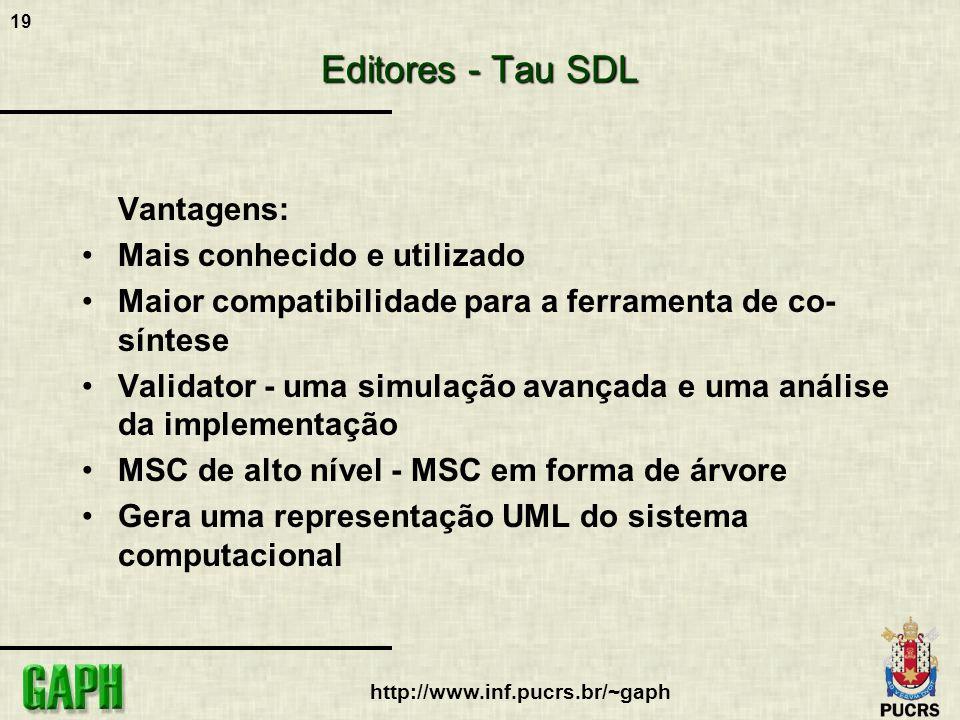 19 http://www.inf.pucrs.br/~gaph Editores - Tau SDL Vantagens: Mais conhecido e utilizado Maior compatibilidade para a ferramenta de co- síntese Valid