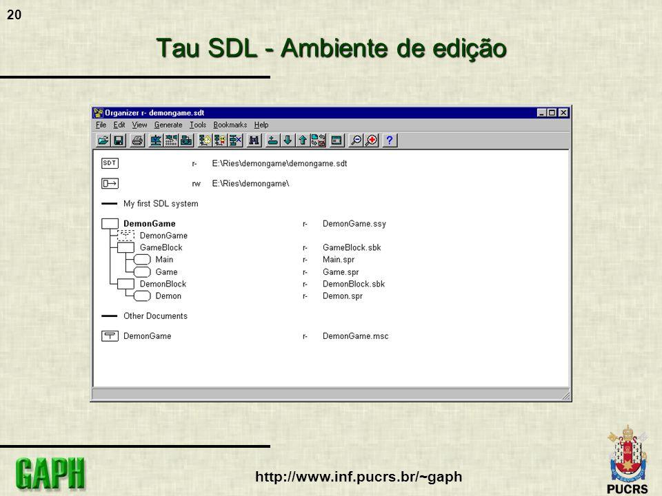 20 http://www.inf.pucrs.br/~gaph Tau SDL - Ambiente de edição