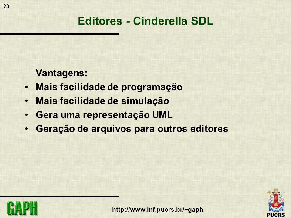 23 http://www.inf.pucrs.br/~gaph Editores - Cinderella SDL Vantagens: Mais facilidade de programação Mais facilidade de simulação Gera uma representaç