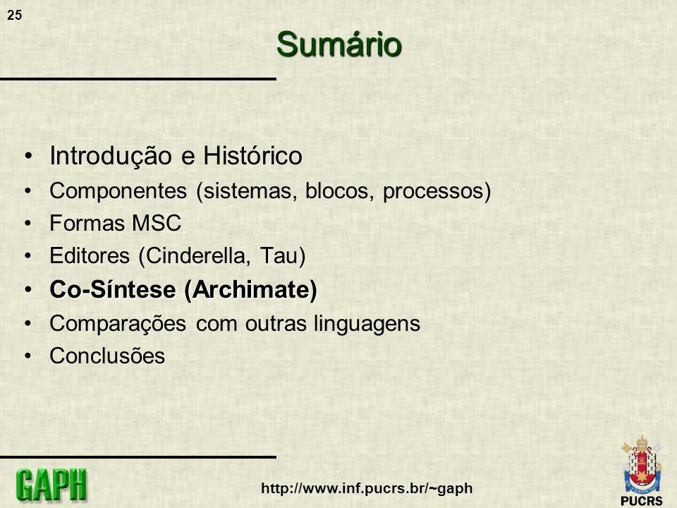 25 http://www.inf.pucrs.br/~gaphSumário Introdução e Histórico Componentes (sistemas, blocos, processos) Formas MSC Editores (Cinderella, Tau) Co-Sínt