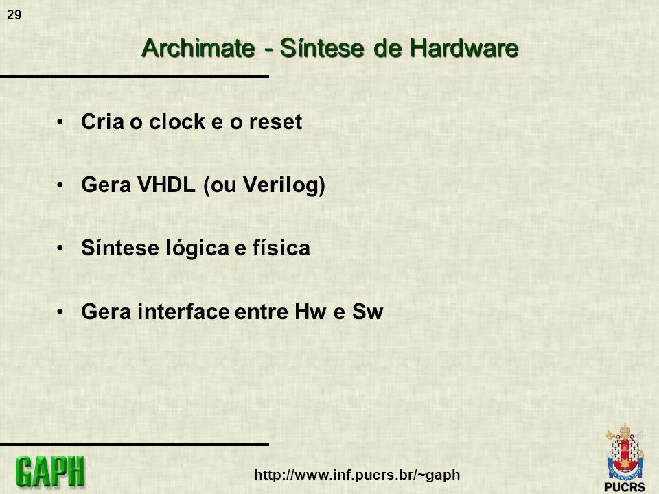 29 http://www.inf.pucrs.br/~gaph Archimate - Síntese de Hardware Cria o clock e o reset Gera VHDL (ou Verilog) Síntese lógica e física Gera interface