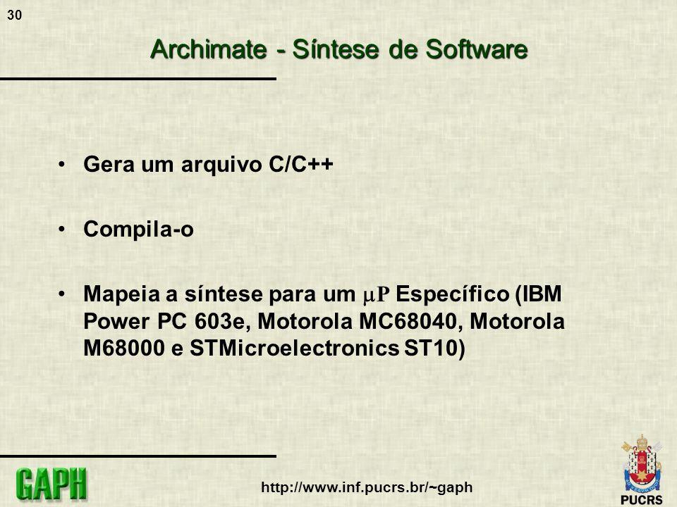 30 http://www.inf.pucrs.br/~gaph Archimate - Síntese de Software Gera um arquivo C/C++ Compila-o Mapeia a síntese para um P Específico (IBM Power PC 6