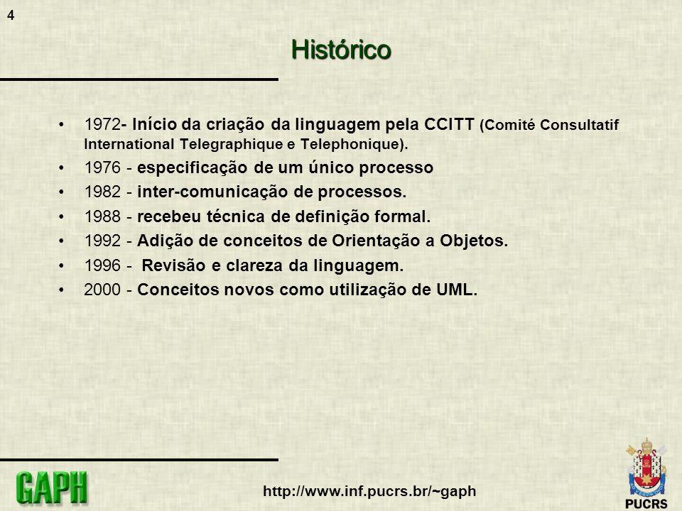 4 http://www.inf.pucrs.br/~gaph Histórico 1972- Início da criação da linguagem pela CCITT (Comité Consultatif International Telegraphique e Telephoniq