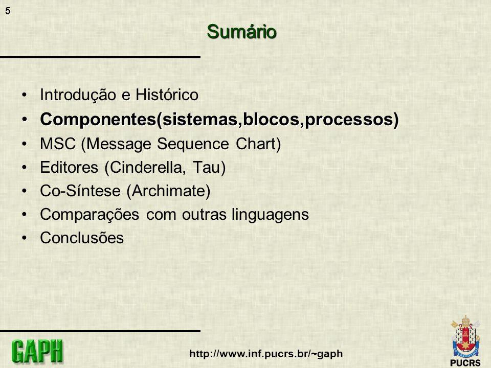 5 http://www.inf.pucrs.br/~gaphSumário eIntrodução e Histórico Componentes(sistemas,blocos,processos)Componentes(sistemas,blocos,processos) MSC (Messa