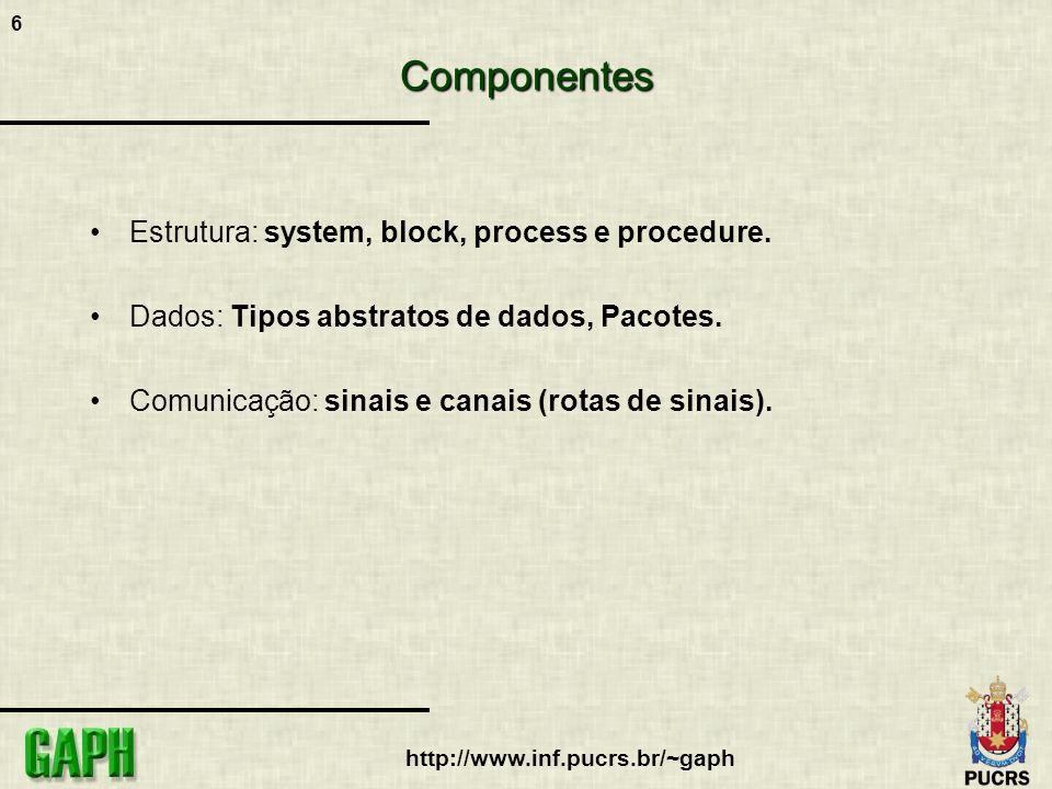 6 http://www.inf.pucrs.br/~gaph Componentes Estrutura: system, block, process e procedure. Dados: Tipos abstratos de dados, Pacotes. Comunicação: sina