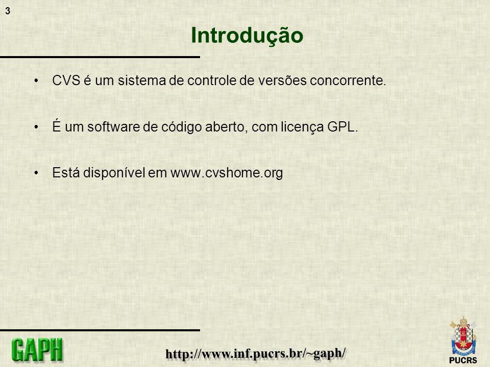 3 Introdução CVS é um sistema de controle de versões concorrente. É um software de código aberto, com licença GPL. Está disponível em www.cvshome.org