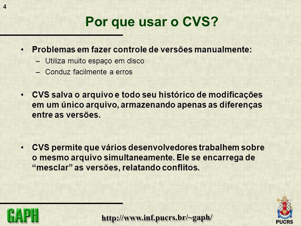 4 Por que usar o CVS? Problemas em fazer controle de versões manualmente: –Utiliza muito espaço em disco –Conduz facilmente a erros CVS salva o arquiv