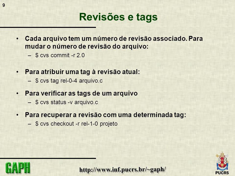 9 Revisões e tags Cada arquivo tem um número de revisão associado. Para mudar o número de revisão do arquivo: –$ cvs commit -r 2.0 Para atribuir uma t