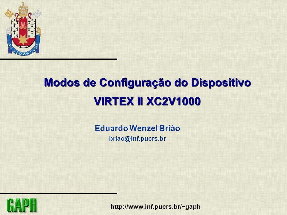 http://www.inf.pucrs.br/~gaph Modos de Configuração do Dispositivo VIRTEX II XC2V1000 Eduardo Wenzel Brião briao@inf.pucrs.br