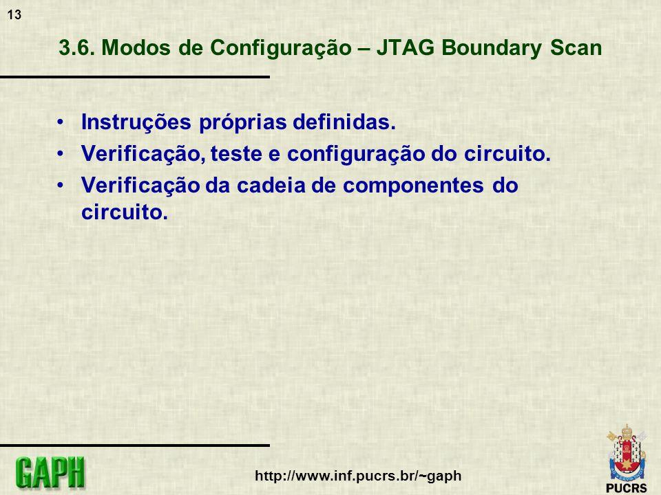 13 http://www.inf.pucrs.br/~gaph 3.6. Modos de Configuração – JTAG Boundary Scan Instruções próprias definidas. Verificação, teste e configuração do c