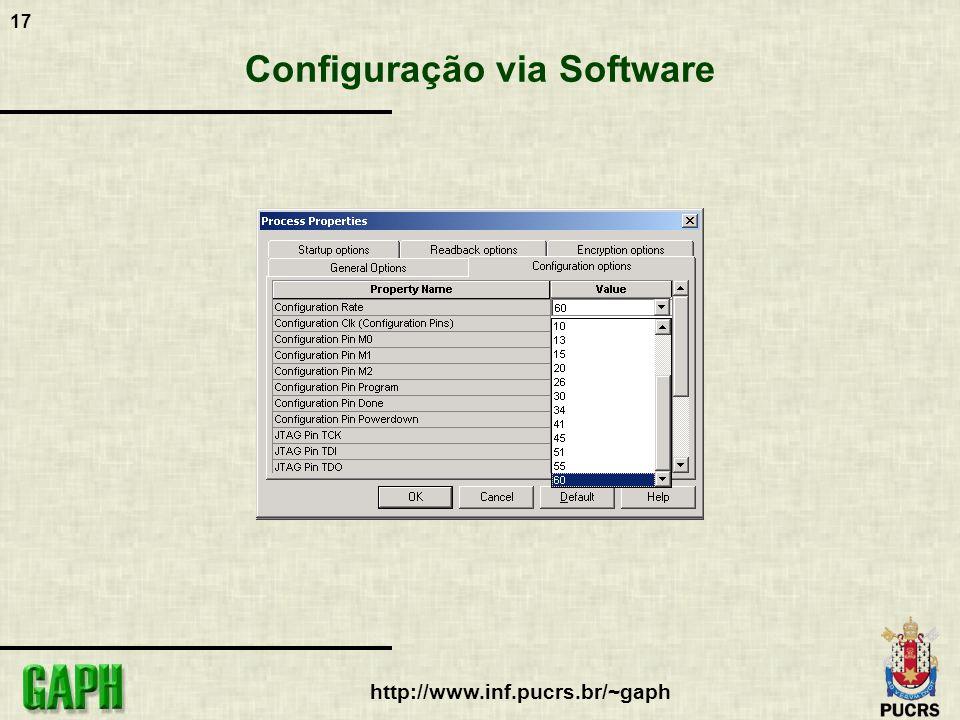 17 http://www.inf.pucrs.br/~gaph Configuração via Software